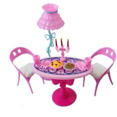1 set Vintage Table Chairs For Dolls Furniture Dining Sets Toys ForGirl Kid For Pink For Barbie - intl