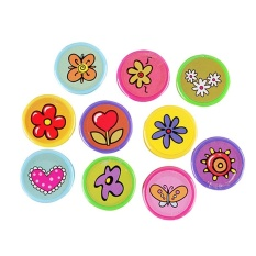 10 pcs Cute Plastic Stamps Different Flowers Patterns Print Craft Art Ink Set Kindergarten Teacher Prizes Props Children's Day Christmas New Year Birthday Toy Gift Party Favor Set by LuckyGirl Store