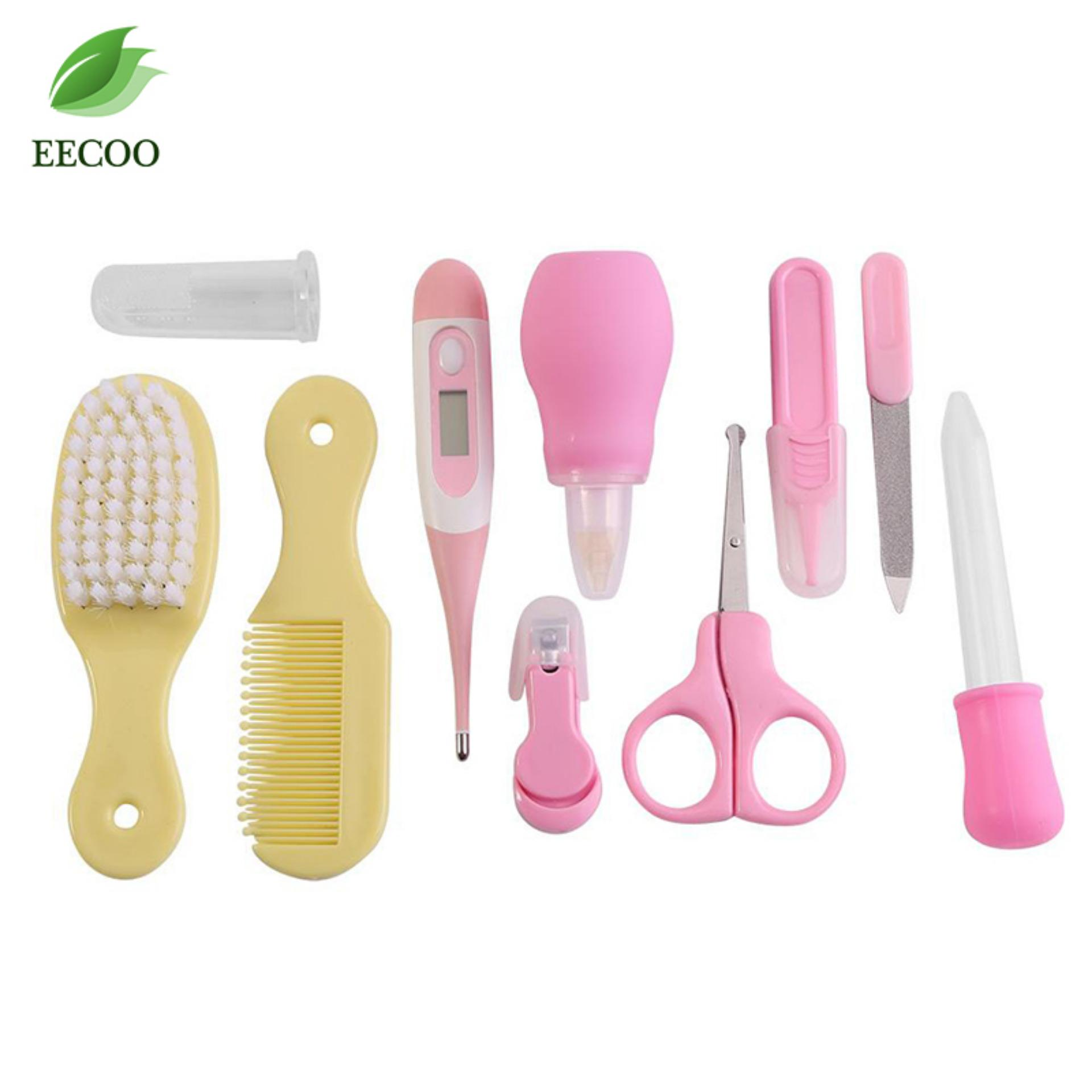 10 Pcs/set Bayi Perlengkapan Rambut Kit Nail Rambut Thermometer Perawatan Sisir Set (Pink + Kuning)-Intl