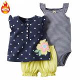 Harga 100 Katun Katun Bayi Pants Bang Pendek Tiga Potong Pakaian Rompi Sling Dipasang Baru