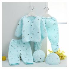 Harga 100 Cotton Bayi Baru Lahir Pakaian Anak Hadiah Set 5 Buah Biru International Baru