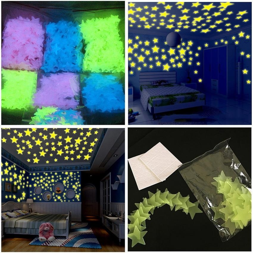 100 Pcs 3D Star Glow In The Dark Luminous Fluorescent Wall Sticker For Kids Bedroom Home Nursery Decor (Campuran Warna) -Intl