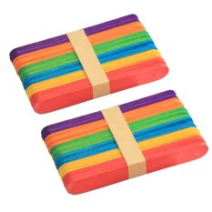 100 Pcs Es Krim Sticks Natural Wooden Popsicle Sticks DIY Kerajinan Tongkat Freezer Pop Sticks 4.49 Inci Panjang Colorful- INTL