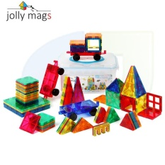 100pcs Jolly mags MAGNETIC TILES new color windows magnetic pieces building blocks magnetic assembly construction tablets children's educational toys Storage bucket