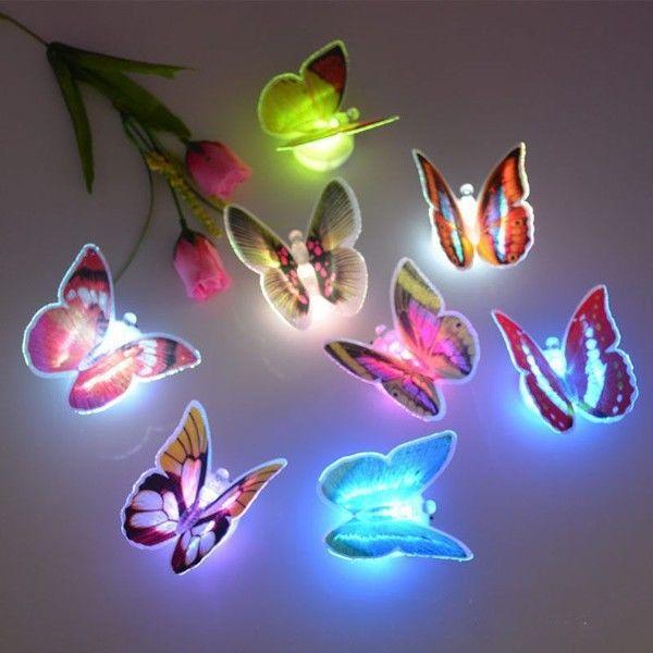 10 Buah/Set These Butterflies 3D Wall Sticker Memimpin Lampu Warna-Warna-Warni Lampu Malam Kamar Tidur Anak Dekorasi