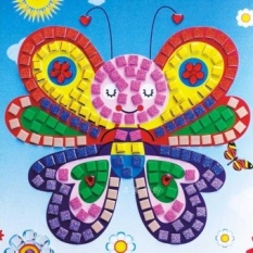 "12 Warna 3D DIY Busa Stiker Mosaik Art EVA Children Puzzle Kartun Crystal 3D Sticker Mainan Pendidikan Kreatif Bandung Photo: ""anak-anak-INTL"