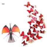Harga 12 Pcs 3D Butterfly Wall Stiker Dekorasi Rumah Stiker Di Dinding Seni Mural Untuk Kreatif Vintage Peralatan Rumah Tangga Kamar Anak Anak Intl Tap Original