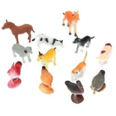 12 Pcs Plastik Farm Yard Gambar Babi Sapi Kuda Anjing Animal Model Kidsplayset Mainan-Internasional