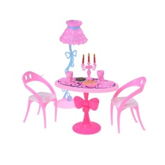 17 PCs Vintage Dining Furniture Table Chairs Toys For Doll Furniture Sets Pink One Size - intl
