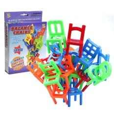18 Pcs/lot Kursi Bentuk Blok Mini Keseimbangan Plastik Stacking Chairs Block Mainan Anak-anak Meja Tulis Permainan Permainan Bahan 18 Kursi Susun-Internasional