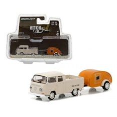1968 Volkswagen Type 2 Double Cab Pickup and Teardrop Trailer Hitch & Tow Series 10 1/64 by Greenli