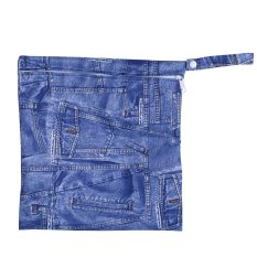 1PC 28*30cm Reusable Water-poof Baby Wet Nappy Bag Zipper Closure Travel Carry Case (Jean Cloth) - intl