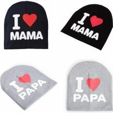 2 buah aku sayang mama & papa topi bayi rajutan benang kapas