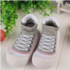 2016 Hot Jual Tinggi Desain Baby Boy GIRL Sepatu Lembut dan Nyaman Anak-anak Pertama Walker Balita Sepatu Moccasins Harga Pabrik Grey-Intl