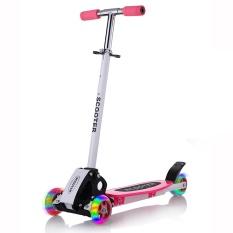 2016 New Real Kids Light Scooter Anak Empat Roda Bundar Folding Bike Blok Geser Flash 4 Roda Mainan Outdoor 2-15years Bersepeda-Intl
