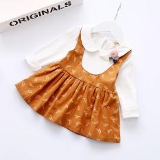 2017 Musim Gugur Hot Jual Anak Bayi Perempuan Kapas Lengan Panjang Gaun Bertali Bayi Pakaian Anak Perempuan-Intl