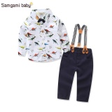 2017 New Baby Boys Spring Gentleman Printed Clothing Sets Suit Newborn Kids Bow Tie Shirt Suspender Trousers Formal Party Intl Murah