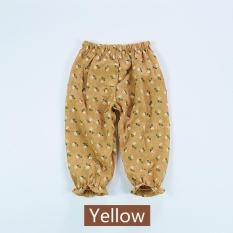 2017 New Summer Female Baby Floral Anti-mosquito Pants Home Air Conditioning Pants Cotton Linen Thin Lantern Pants - Yellow