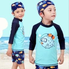 2017 Baru Musim Panas Musim Semi Musim Gugur Panjang Lengan Perlindungan Sinar Matahari Bayi Laki-laki Baju Renang Dua Potongan Anak-anak Remaja Lelaki Berselancar Baju Renang- internasional