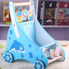 2017 Real Bayi Ride On Toys Puzzle Bayi Balita Anak Empat Roda Tangan Adjustable Kayu Push Walker Mainan-Internasional