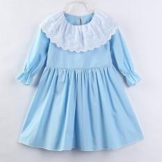 2018 Bayi Gadis Renda Putri Bayi Bayi Gadis Gaun Biru Lengan Panjang Gaun Anak-anak Pakaian Pesta Ulang Tahun Pakaian 1-5Y -Internasional