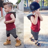 2Pcs Baby Boy Summer Red Vest Hooded 7 Pants Suit Intl Diskon Akhir Tahun