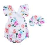 Review 2 Pcs Bayi Perempuan Sleeveless Floral Dicetak Romper Jumpsuit Headband