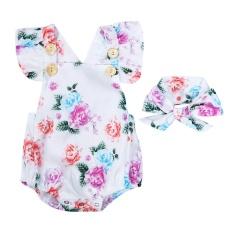 Beli 2 Pcs Bayi Perempuan Sleeveless Floral Dicetak Romper Jumpsuit Headband Vakind