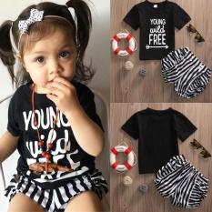 2 PCS Anak Perempuan Hitam Letter Cetak T-shirt Lengan Pendek T-shirt + Celana Pendek Bergaris Pakaian Set Malaysia Anak-anak Di Luar Pakaian Fashion-Intl