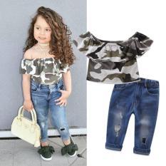 Promo 2 Pcs Puit Lucu Anak Camo Off Bahu Sleeveless Tops Jins Lubang Celana Pakaian Set Pakaian 1 7Y Intl Murah