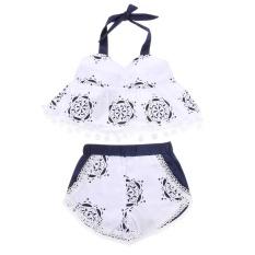 2 Pcs Fashion Bayi Girls Swimsuit Rompers Top + Pendek Pakaian Set-  Intl