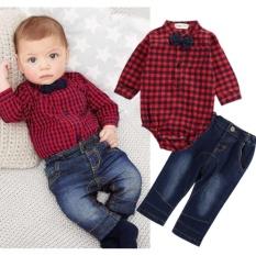 Model 2 Pcs Kids Baby Boy Baju Monyet Bodysuit Jumpsuit Tops Celana Jeans Pakaian Pakaian Set Intl Terbaru