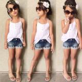 Jual 2Pcs Kids Baby Girls Outfits Set Tank Top T Shirt Dress Jeans Pants Clothes Intl Antik