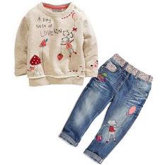 Harga 2 Buah Anak Bayi Perempuan Atasan Celana Jeans Denim Set Pakaian Musim Semi Musim Gugur Lengkap