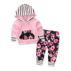 2 Pcs Bayi Yang Baru Lahir Bayi Perempuan Pakaian Lengan Panjang Bertudung Sweatshirt Atasan Celana Outfits