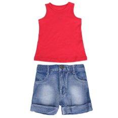 Toko 2 Pcs Anak Balita Baby Boy Rompi Merah Jeans Celana Celana Pendek Pakaian Set Intl Terlengkap