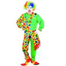2 Pcs/set Clown Cosplay Kostum Halloween untuk Pria Dewasa Jumpsuit + Cap Ukuran 165-175 Cm-Intl