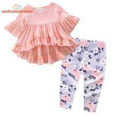 Model 2 Pcs Set Pedesaan Bayi Bayi Gadis Kelima Dan Beropol Di Lengan Top Celana Floral Orange 6 Bulan Intl Terbaru