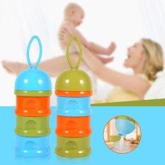 Ulasan Mengenai 3 Lapisan Portable Bayi Bayi Susu Bubuk Formula Dispenser Case Box Container Blue Cap Intl