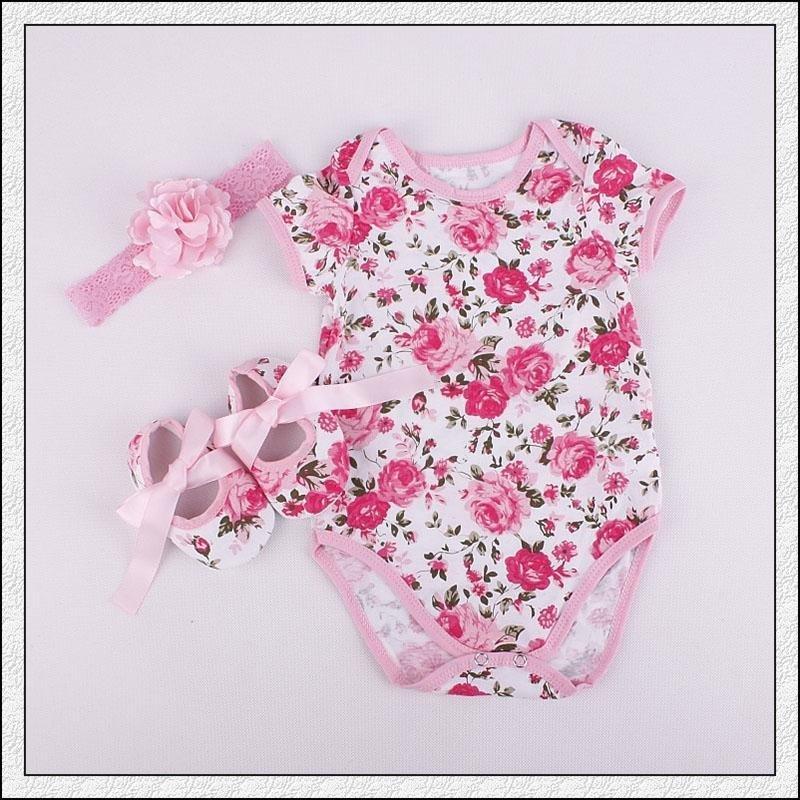 3 Pack Baru Lahir Baby Printed Dressing Set-Pink, L-Intl
