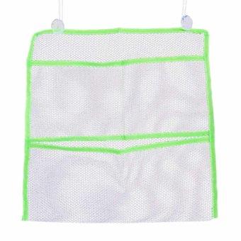 3 kamar mandi dinding kantong penyimpanan mainan penyelenggara kantong jaring kantong dengan jumlah cangkir hisap vakum