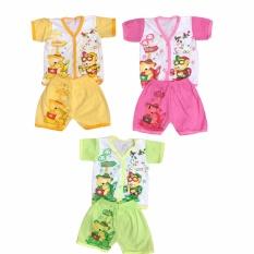 BAYIE - 3 SET Setelan Baju Bayi Lengan Pendek+Celana Pendek Motif lucu new born MELODY  umur 0-3 bulan/baju rumah/anak laki-laki/anak perempuan