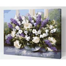 33 Jenis 40X50 CM Handpainted DIY Lukisan Minyak dengan Bingkai Kayu Bilangan DIY Lukisan Modern Pemandangan Seni Bunga Dekorasi Dinding For Rumah (Ungu Bunga) -Intl