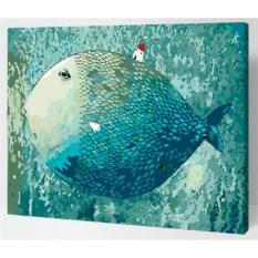 33 Jenis 40X50 CM Handpainted DIY Lukisan Minyak dengan Bingkai Kayu DIY Nomor Lukisan Modern Pemandangan Seni Bunga Dekorasi Dinding For Rumah (Ikan Biru) -Intl