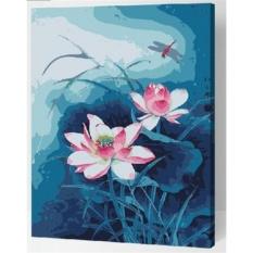 33 jenis 40X50 CM Handpainted DIY Lukisan Minyak Dengan Bingkai Kayu DIY Nomor Lukisan Modern Pemandangan Seni Bunga Dekorasi Dinding untuk Rumah (Lotus)-Intl