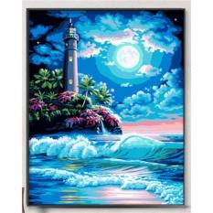 33 Jenis 40X50 CM Handpainted DIY Lukisan Minyak dengan Bingkai Kayu DIY Nomor Lukisan Modern Pemandangan Seni Bunga Dekorasi Dinding For Rumah (Malam Mercusuar) -Intl