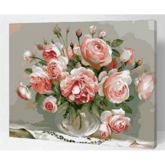 33 Jenis 40X50 CM Handpainted DIY Lukisan Minyak dengan Bingkai Kayu DIY Nomor Lukisan Modern Pemandangan Seni Bunga Dekorasi Dinding For Rumah (Pink Bunga) -Intl