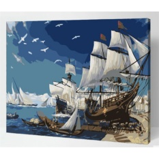 33 Jenis 40X50 CM Handpainted DIY Lukisan Minyak dengan Bingkai Kayu DIY Nomor Lukisan Modern Pemandangan Seni Bunga Dekorasi Dinding For Rumah (Pelayaran) -Intl