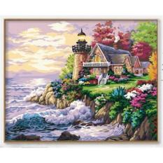 33 Jenis 40X50 CM Handpainted DIY Lukisan Minyak dengan Bingkai Kayu DIY Nomor Lukisan Modern Pemandangan Seni Bunga Dekorasi Dinding For Rumah (Seaside House) -Intl
