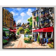 33 jenis 40X50 CM Handpainted DIY Lukisan Minyak Dengan Bingkai Kayu DIY Nomor Lukisan Modern Pemandangan Seni Bunga Dekorasi Dinding untuk Rumah (Street)-Intl
